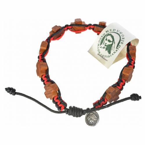 Bracelet Medjugorje corde noir et rouge croix en olivier s1