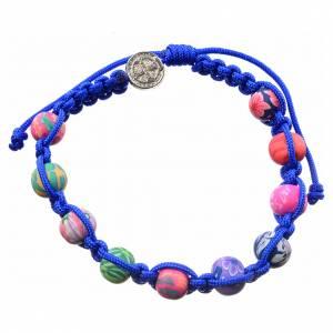 Bracelets, dizainiers: Bracelet Medjugorje fimo corde bleue