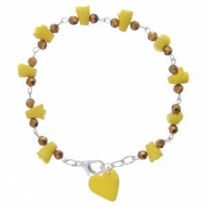 Bracelets, dizainiers: Bracelet Medjugorje jaune roses et coeur céramique