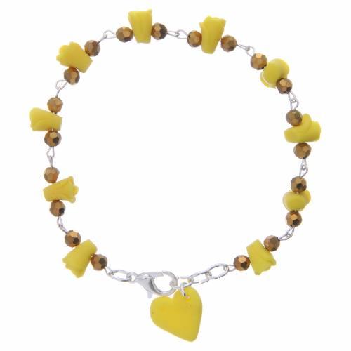 Bracelet Medjugorje jaune roses et coeur céramique s1