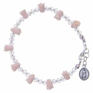 Bracelet Medjugorje rose icône Vierge roses céramique s2