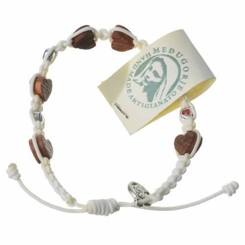 Bracelet olivier coeur Medjugorje corde blanche s2