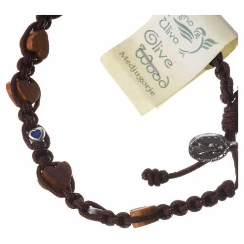 Bracelet olivier coeur Medjugorje corde marron s2