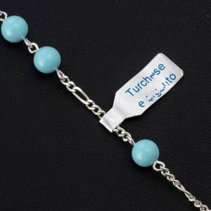 Bracelet, One Decade rosary beads, Turquoise and 800 silver s2