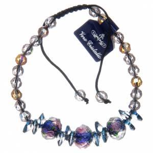 Bracelet sur corde avec grains en cristal et roses bleues s2