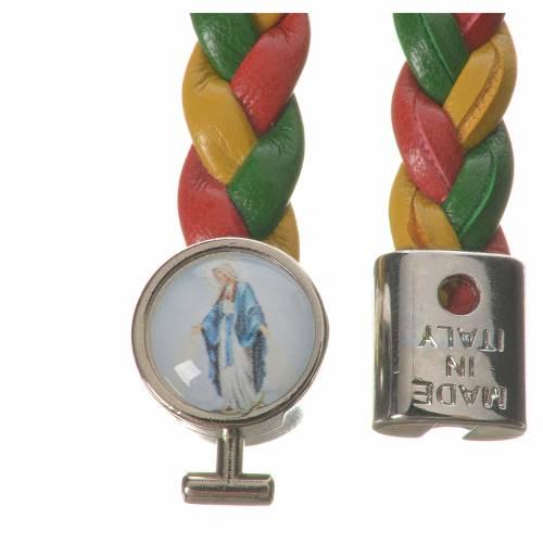 Bracelet tressé 20 cm Vierge Miraculeuse rouge/jaune/vert s2