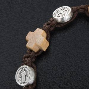 Bracelets, peace chaplets, one-decade rosaries: Bracelet with crosses and St. Benedict's medals
