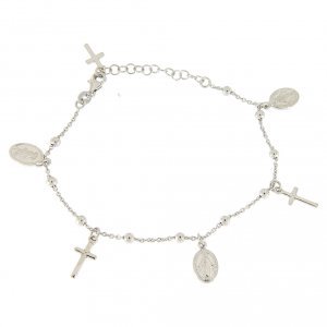 Silver bracelets: Bracelet with pendant medalets and 925 sterling silver crosses