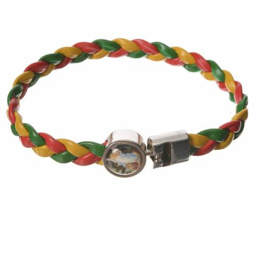 Braided bracelet, 20cm red, yellow, green Angel s1