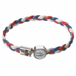 Braided bracelet, 20cm white, red, blue Miraculous Medal s1