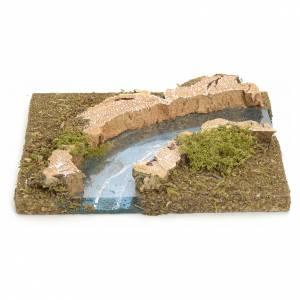 Ponts, ruisseaux, palissades pour crèche: Bras de rivière courbe pour crèche 14x15