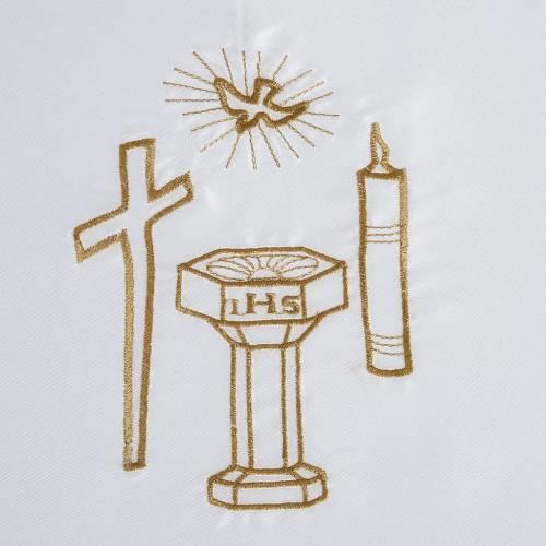 Brassière baptême colombe croix cierge fonts baptismaux satin s2