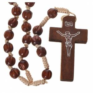 Wood rosaries: Bright carved wood Franciscan rosary