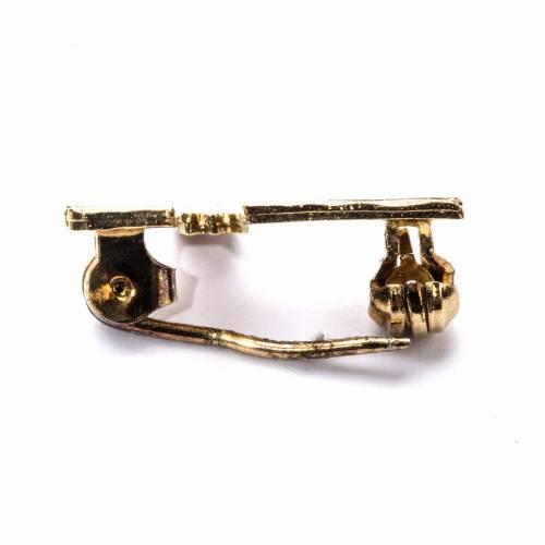 Broche cruz dorada moleteada plata de ley s3