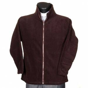 Brown pile jacket with zip and pockets s1
