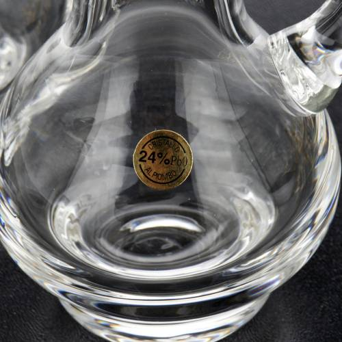 Burettes en verre et plateau doré nikelé s8