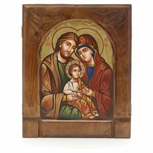Handgemalte rumänische Ikonen: Byzantinische Ikone Heilige Familie 24x18cm