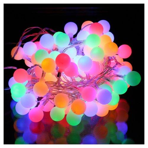 Cadena luces esferas opacas 100 LED Multicolor interior exterior s2