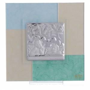 Bonbonnières: Cadre Baptême bleu-vert 17x17 cm