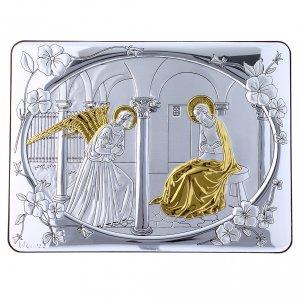 Bas reliefs en argent: Cadre bi-laminé avec arrière bois massif détails or Annonciation 16,3x21,6 cm
