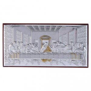 Bas reliefs en argent: Cadre bi-laminé support bois massif Cène 4,7x9,4 cm