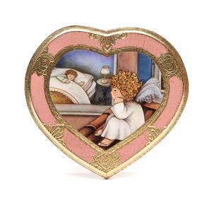 Cadre Coeur Ange sur toit rose s1