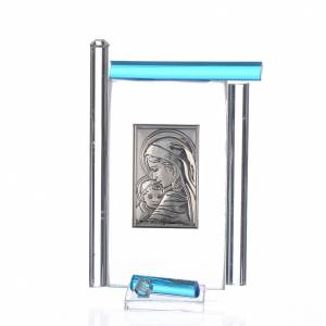 Cadre Maternité arg. et verre Murano aigue-marine h 9 cm s1