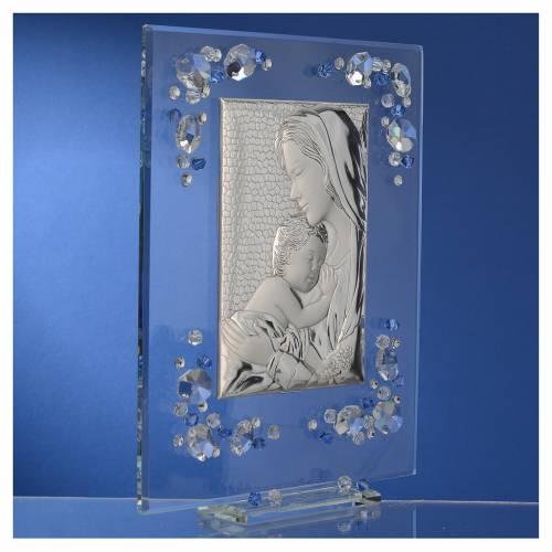 Cadre Maternité bleu argent et Swarovski 19x16 cm s3