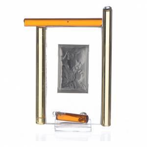 Cadre Pape Jean-Paul II arg. et verre Murano ambre h 9 cm s2