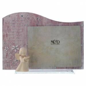 Bonbonnières: Cadre rose avec ange en bois 20x15 cm