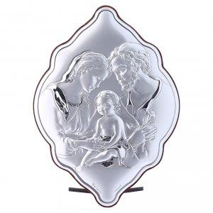 Bas reliefs en argent: Cadre Sainte Famille bi-laminé avec arrière bois massif 21x14 cm