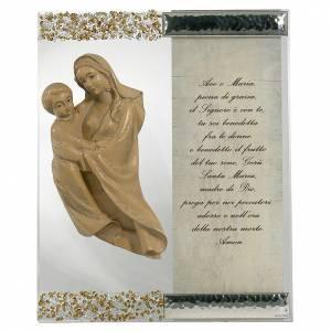 Bonbonnières: Cadre sculpture Vierge argent cristal prière ITA topaze