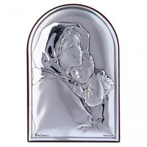 Bas reliefs en argent: Cadre Vierge Enfant enlacés en bi-laminé avec support en bois massif 12x8 cm