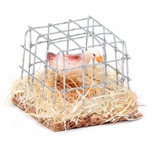 Animals for Nativity Scene: Cage with hen, Nativity Scene figurine 2.5 cm assorted