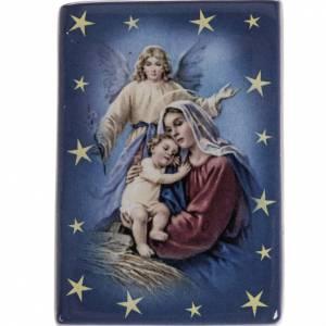 Magneti dei Santi, Madonna, Papa: Calamita ceramica Maria con bimbo e angelo custode