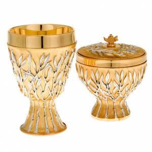 Calici Pissidi Patene metallo: Calice e pisside ottone Rami d'Ulivo