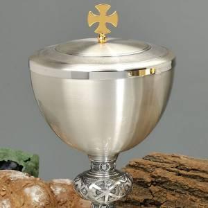 Calice e pisside ottone argentato cesellato croce celtica s2