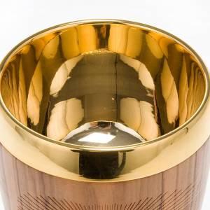 Calice olivo bordo risvoltato incisione pellicano diam 9 cm s3