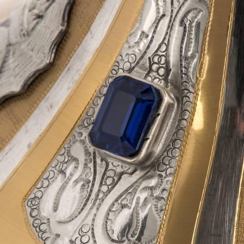 Cáliz y copón latón bicolor piedra azul 5