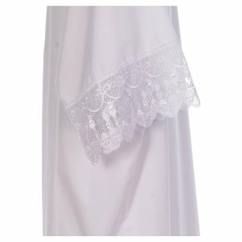 Camice bianco piegoni e merletto con calice misto cotone s4