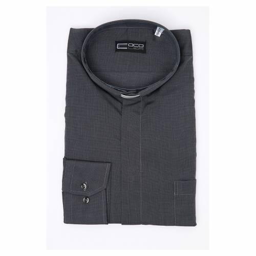 Camicia clergy M. Lunga Filo a Filo misto cotone  Grigio s3