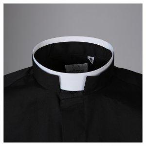 STOCK Camicia clergy manica lunga popeline nera collo romano s3