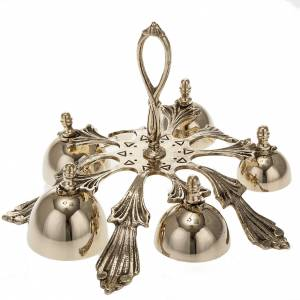 Campanelli liturgici: Campanello a cinque suoni decorato dorato