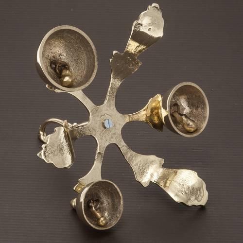 Campanello liturgico a tre suoni decorato dorato s3