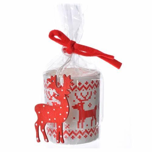 Candela natalizia bicchiere vetro rosse bianche assortite s1
