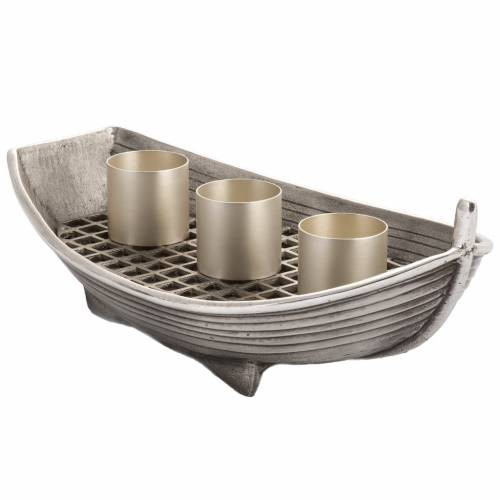 Candeliere barca bronzo argentato 3 fiamme s2