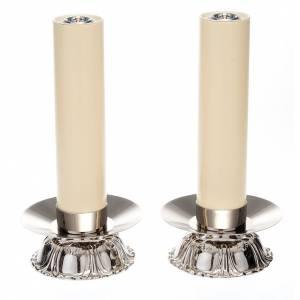 Candelieri in ottone argentato tondo s1