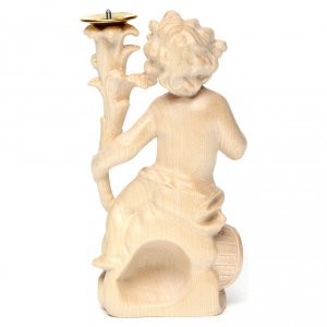 Candle holder with angels, natural wax Valgardena wood s5