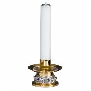 Candlestick in golden brass with gemstone s1