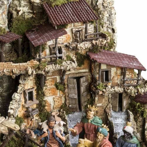 Capanna presepe 80x110x70 cm borgo e fontana s6